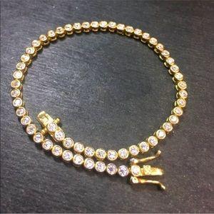 Jewelry - Sterling Silver 2ct CZ Tennis Link Chain Bracelet